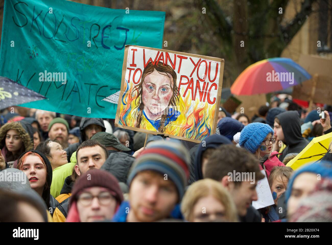Bristol, UK. 28th Feb, 2020. 28.02.20. Greta Thunberg attends the School Strike in Bristol with over 30,000 other people. The school strike for the climate, AKA Fridays for Future, Youth for Climate and Youth Strike 4 Climate, is an international movement of school students who take time off from class to participate in demonstrations to demand action to deal with the Climate & Ecological Emergency Credit: Gareth Morris/Alamy Live News Stock Photo