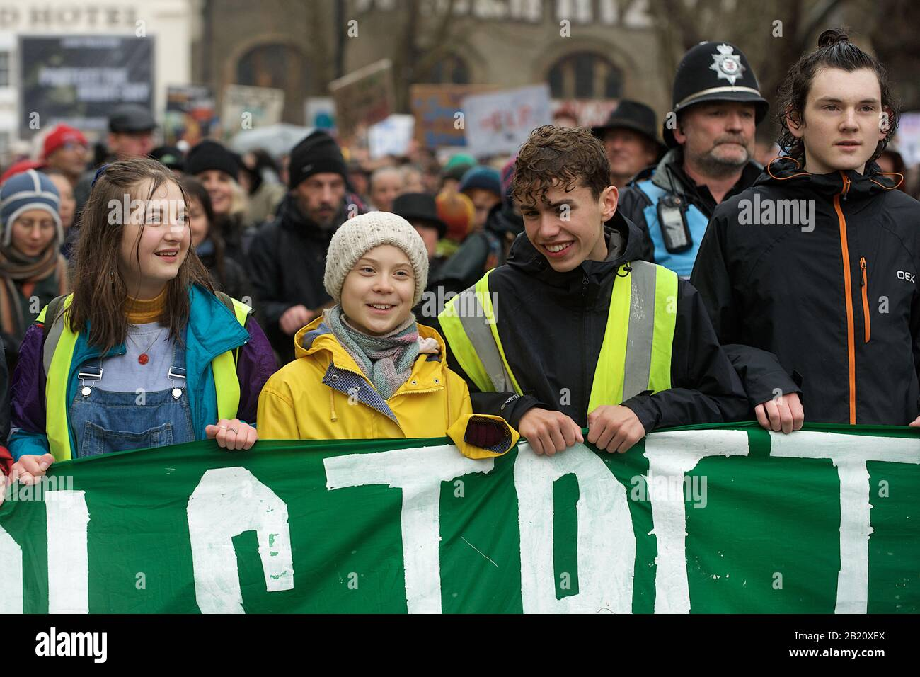 Bristol, UK. 28th Feb, 2020. Greta Thunberg attends the School Strike in Bristol with over 30,000 other people. The school strike for the climate, AKA Fridays for Future, Youth for Climate and Youth Strike 4 Climate, is an international movement of school students who take time off from class to participate in demonstrations to demand action to deal with the Climate & Ecological Emergency Credit: Gareth Morris/Alamy Live News Stock Photo