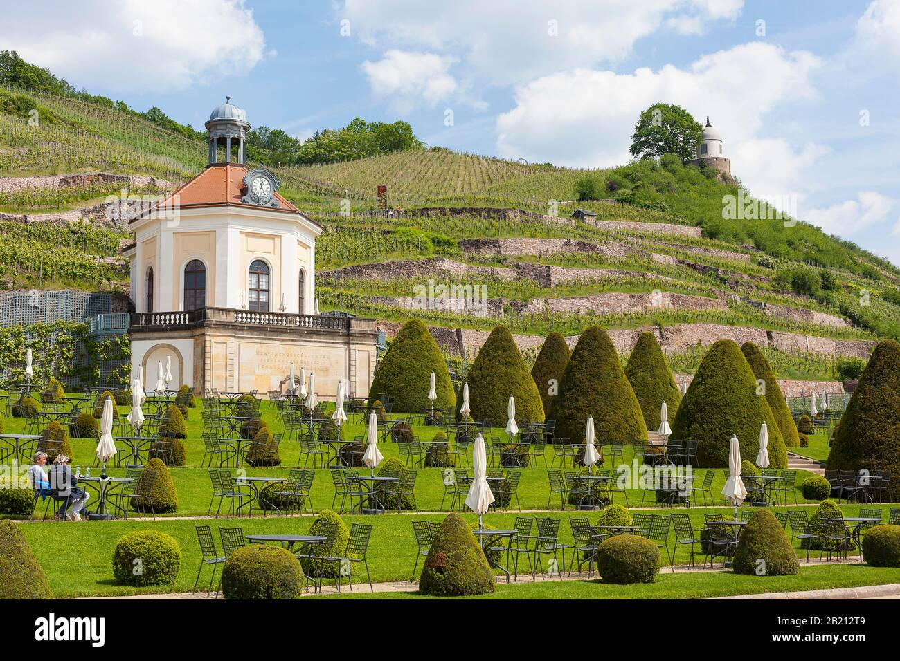 Belvedere in the castle park Wackerbarth with Jacobstein, in the background the vineyards, Radebeul, Saxony, Germany Stock Photo