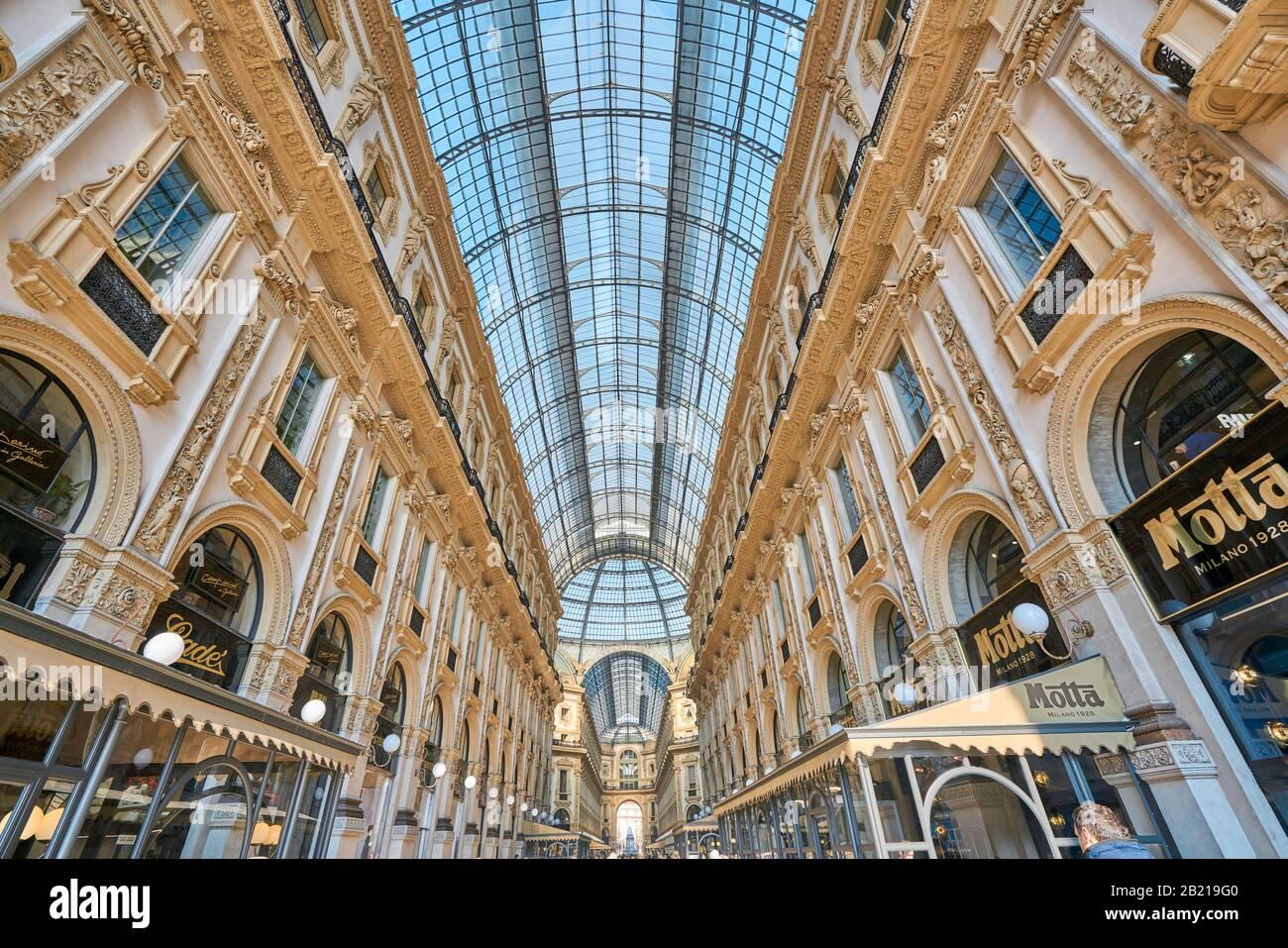 Milan, Italy - January 21 2019: Shopping art gallery in Milan. Galleria Vittorio Emanuele II, Italy Stock Photo