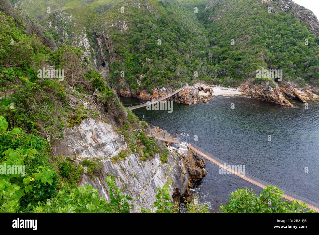 Suspension bridges at Storms River Mouth,Tsitsikamma National Park, Garden Route, near Port Elizabeth,South Africa Stock Photo