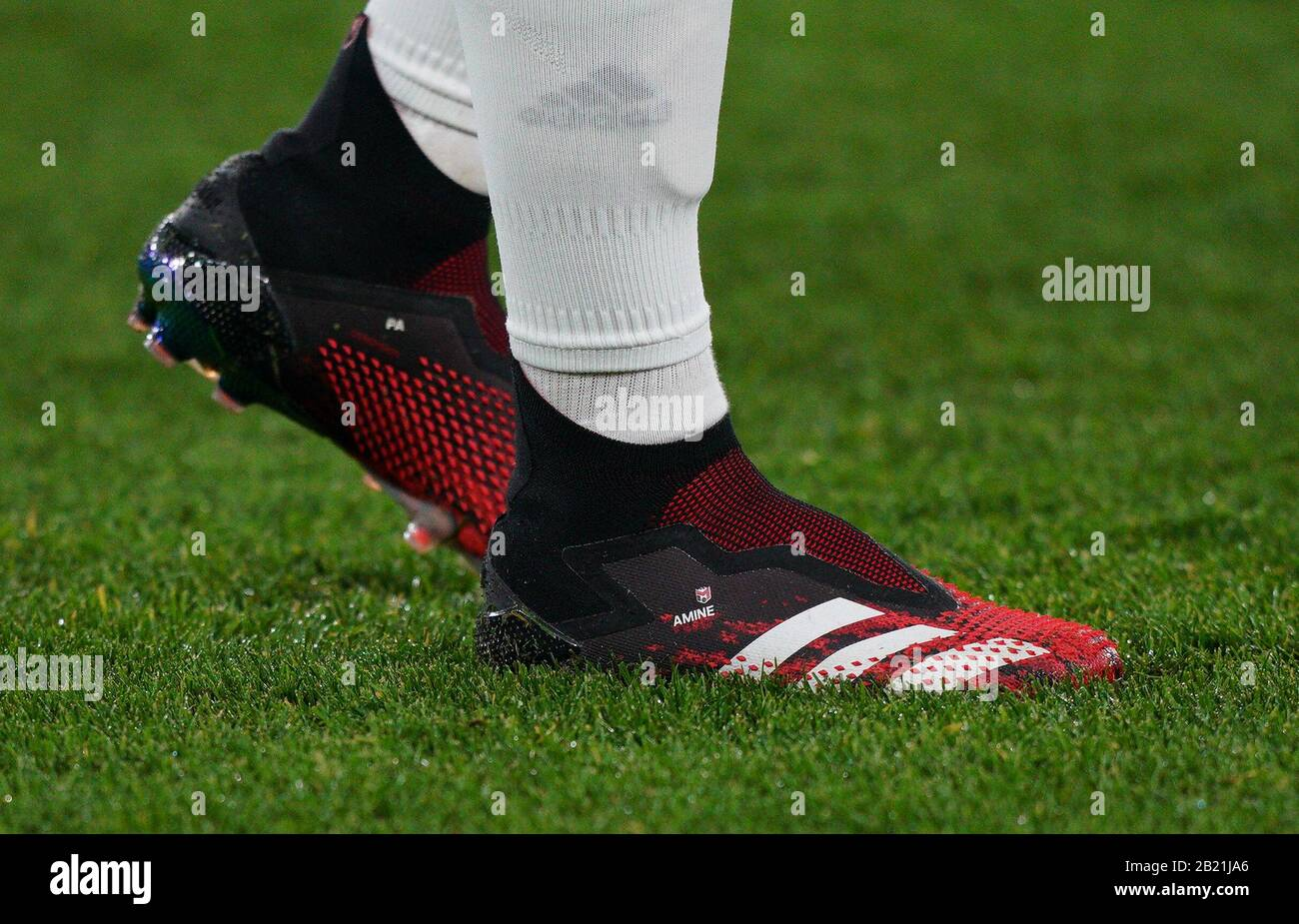 London, UK. 27th Feb, 2020. The Adidas football boots of Mesut ...
