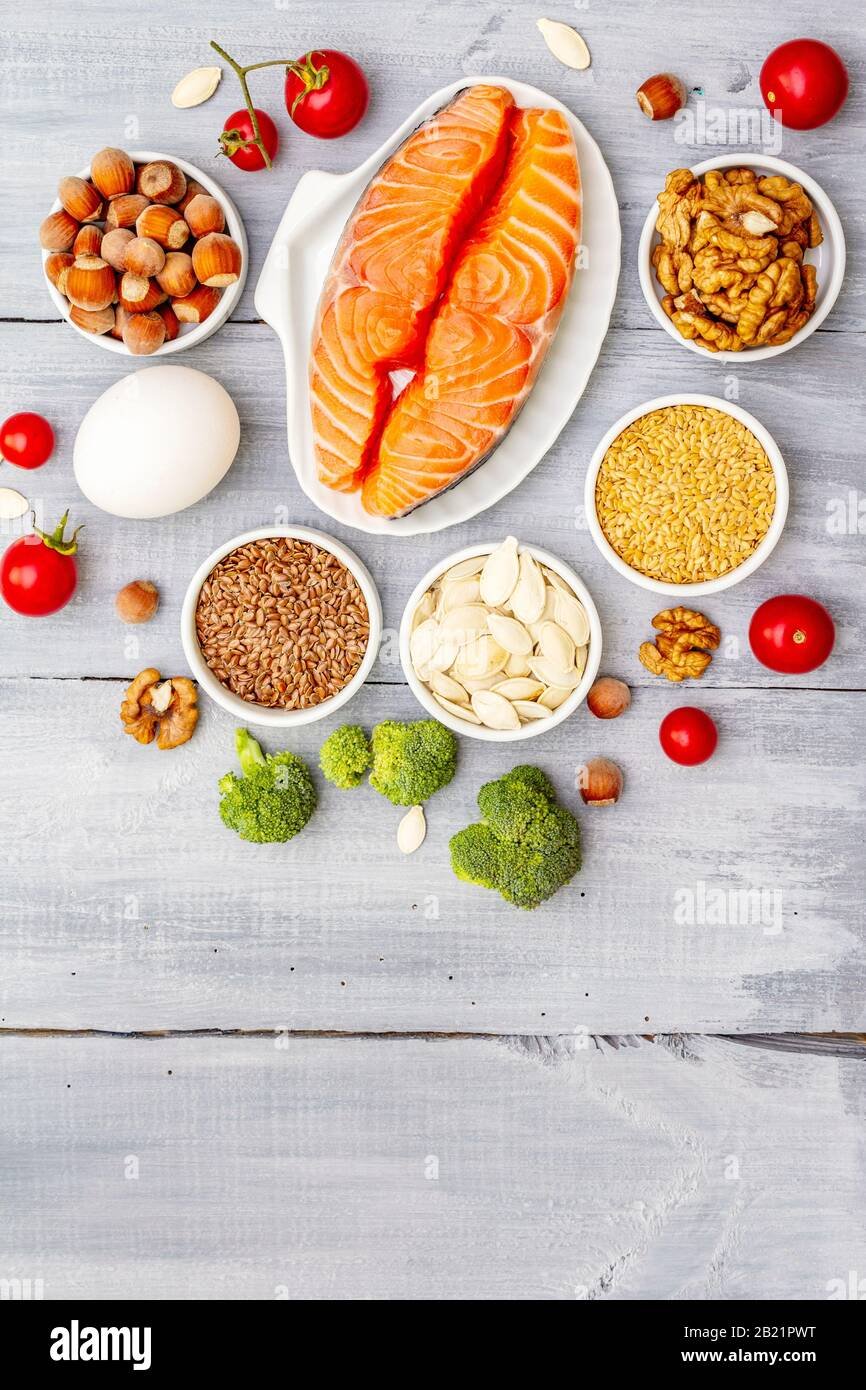 Healthy Balanced Low Carbs Food With Healthy Fats Ketogenic Diet Concept Nutrition For The Heart And Blood Vessels Fresh Organic Ingredients Gray Stock Photo Alamy