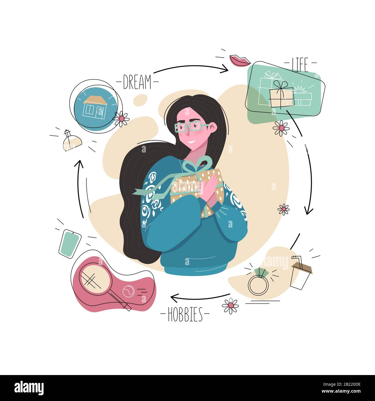 Gift and young woman illustration .Female in glasses holding present with  bow and smile.Concept of life, hobbies, important things,sport,coffee  cup,ri Stock Vector Image & Art - Alamy
