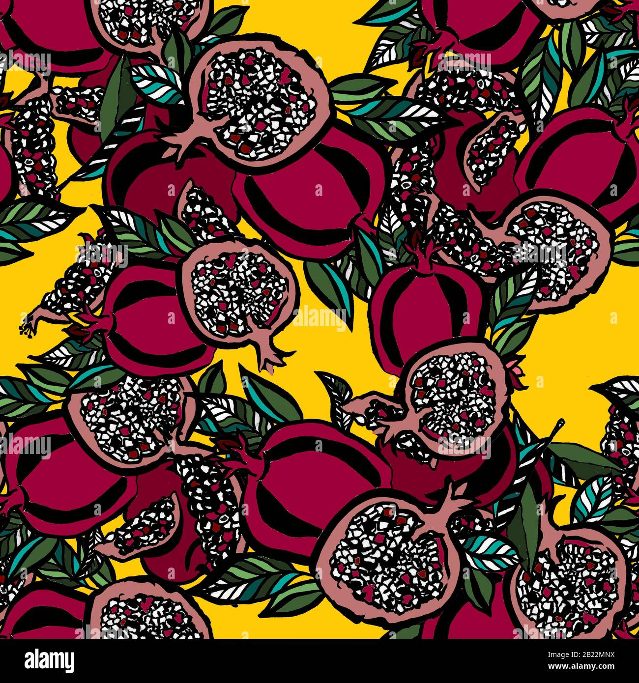 Pomegranate Seamless Pattern On Yellow Background Fabric Design Kitchen Decor Floral Illustration Hand Drawn With Inks Stock Photo Alamy