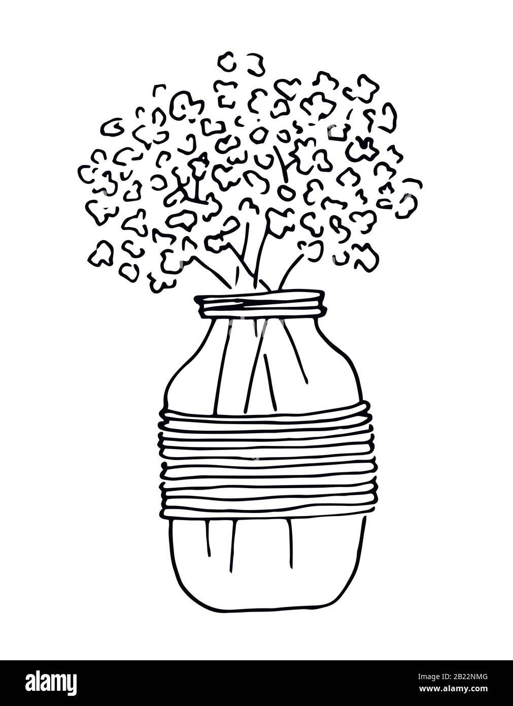 Bouquet flowers in glass jar, black lines art, isolated on white background. Illustration for invitation, greeting cards. Stock Vector