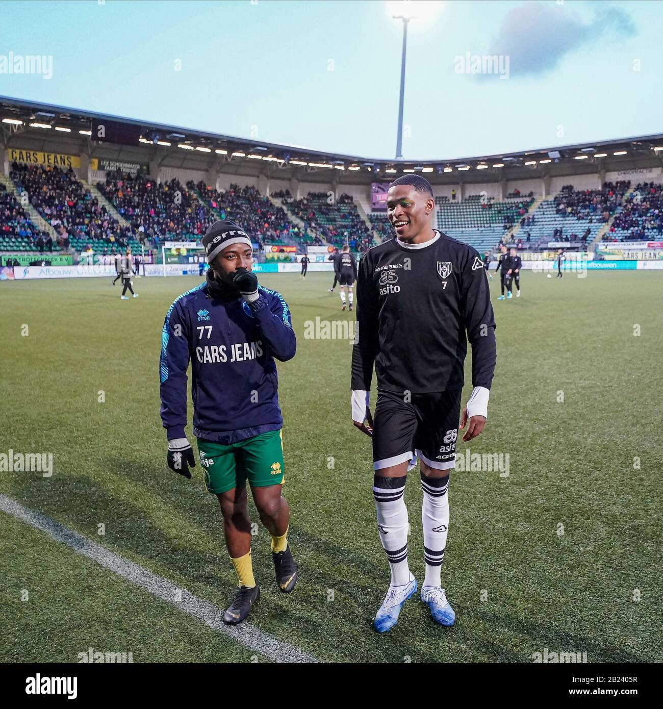 The Hague Netherlands 29th Feb 2020 The Hague 29 02 2020 Cars Jeans Stadion Ado Den Haag Dutch Eredivisie Football Season 2019 2020 Ado Player Elson Hooi L And Heracles Player Jeremy Cijntje R Before