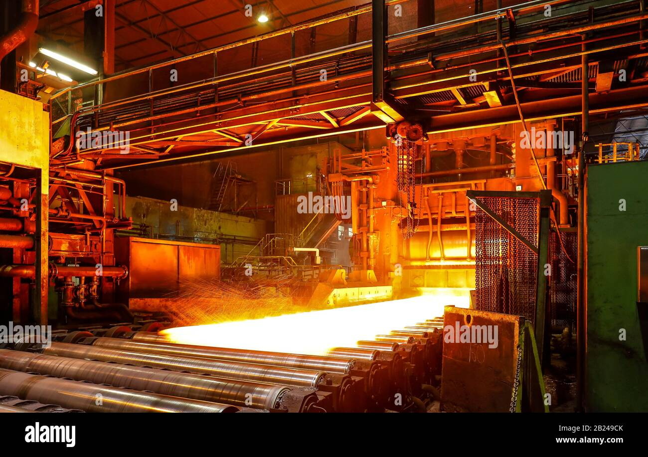ThyssenKrupp Steel, steel production at the heavy plate mill Duisburg-Huettenheim, Duisburg, Ruhr Area, North Rhine-Westphalia, Germany Stock Photo
