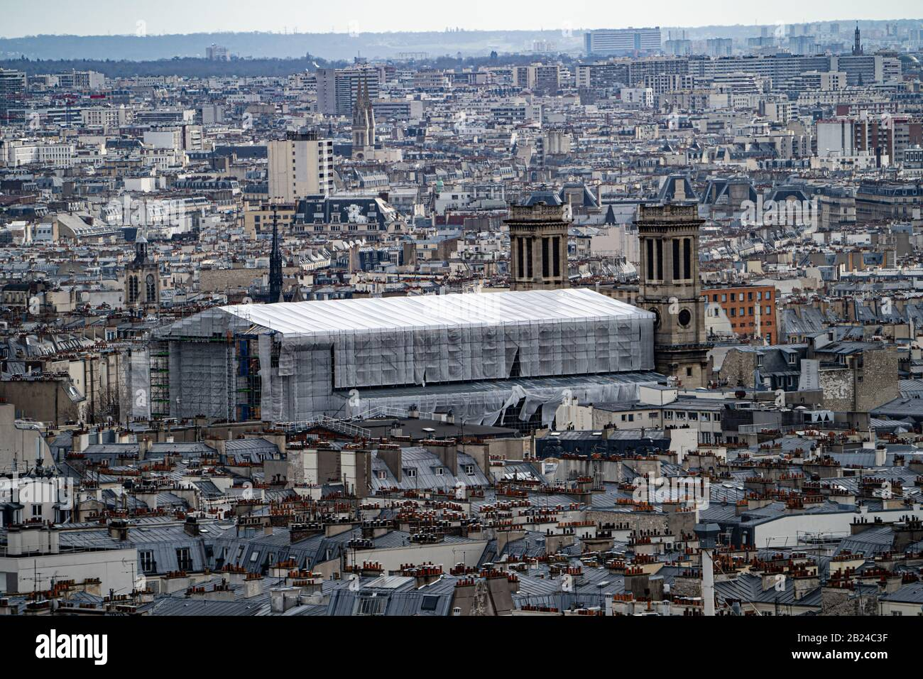 Notre Dame Cathedral In Paris France In February 2020 Covered While Restoration Work Is Carried Out Following The Fire Of 2019 Stock Photo Alamy