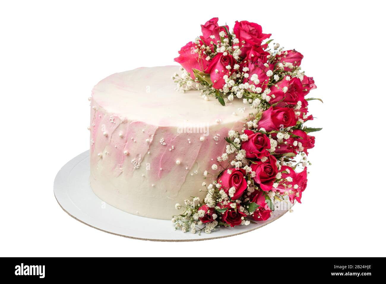 Wondrous Flower Cake For The Holiday With Roses Flowers On A White Funny Birthday Cards Online Hetedamsfinfo