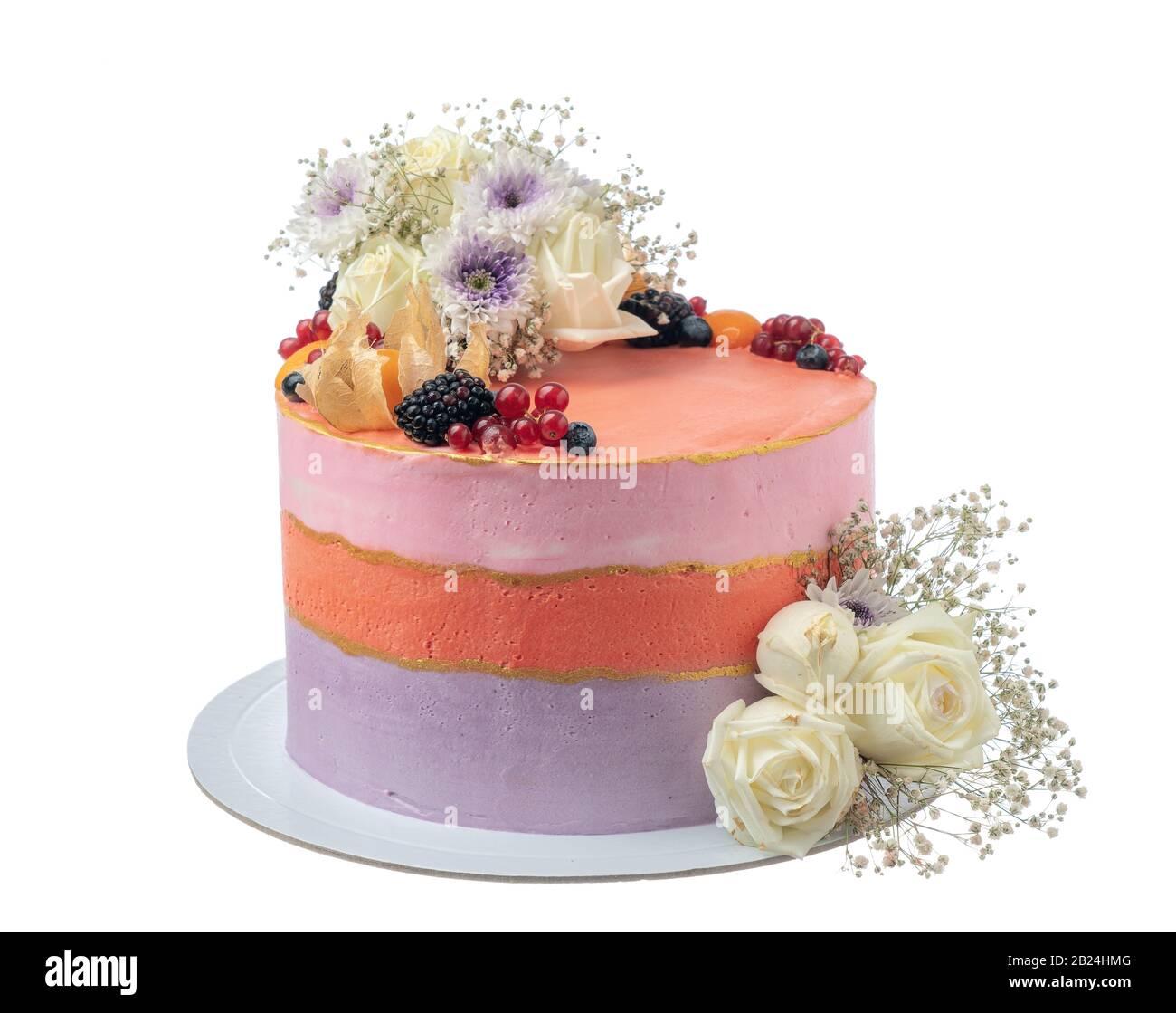 Marvelous An Elegant Birthday Cake Of Flowers And Berries On A White Personalised Birthday Cards Veneteletsinfo