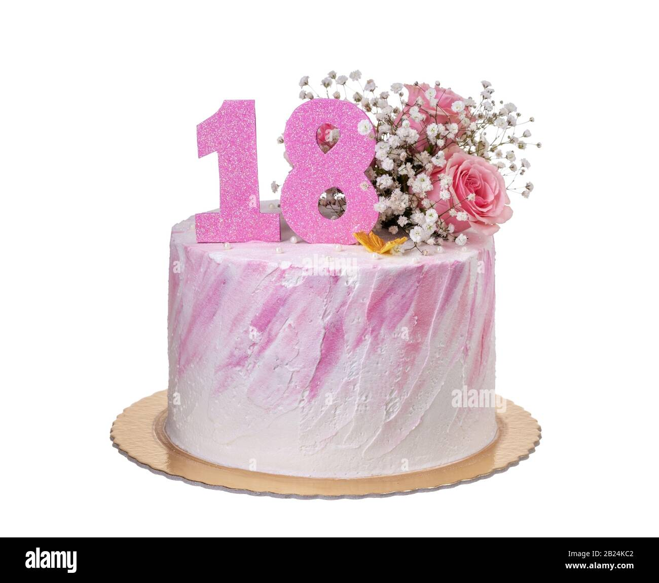 Fantastic Beautiful Cake On The Birthday Of The Girl For 18 Years Stock Funny Birthday Cards Online Overcheapnameinfo