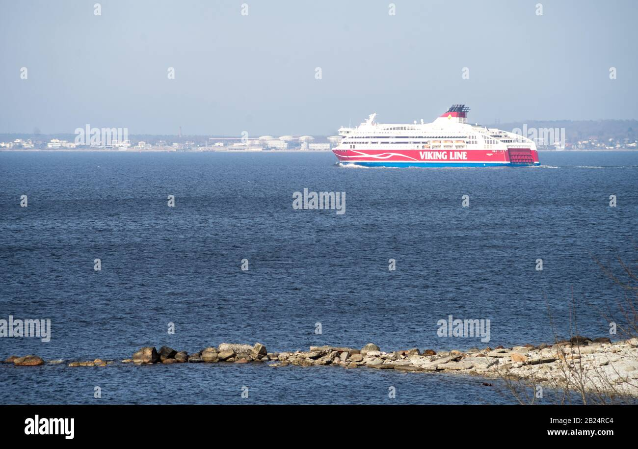 20 April 2019, Tallinn, Estonia. High-speed 10-deck passenger and car ferry of the Finnish shipping concern Viking Line Viking XPRS in the port of Tal Stock Photo