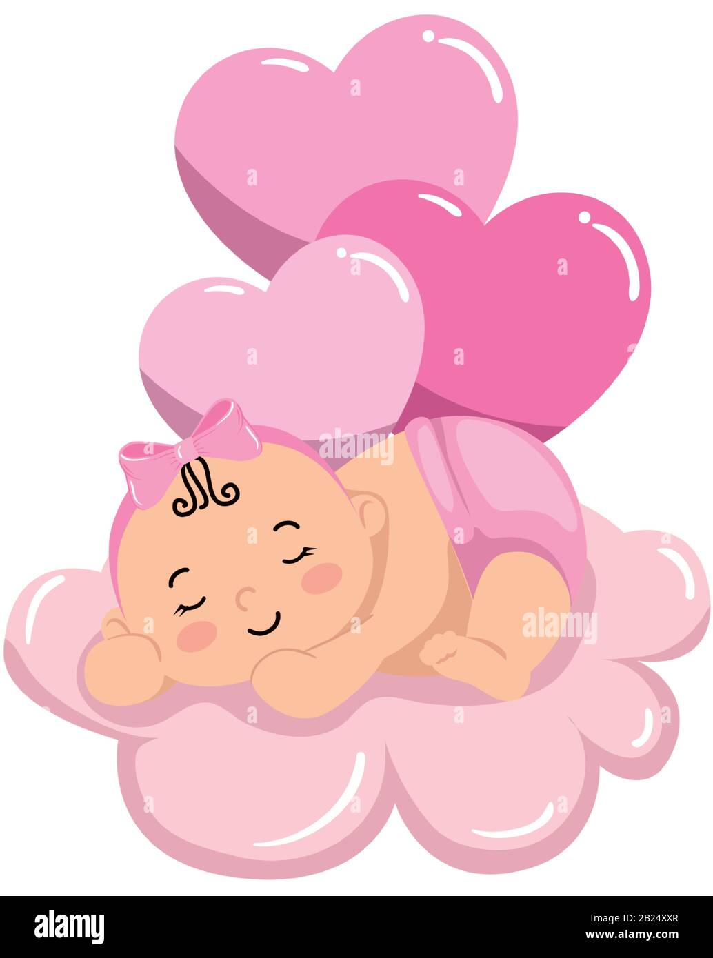 Cute Little Baby Girl Sleeping In Cloud With Balloons Helium Stock Vector Image Art Alamy