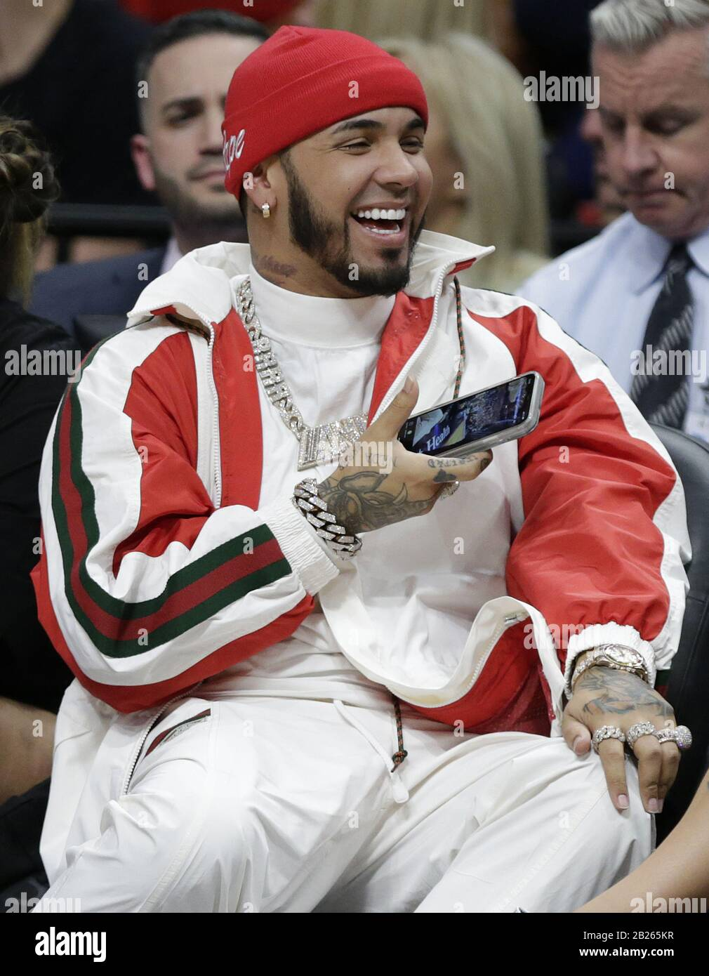 Miami Beach Fl February 28 Anuel Aa Is A Puerto Rican Rapper And Singer Seen Court Side At The Miami Heat Game On February 28 2020 In Miami Florida People Anuel
