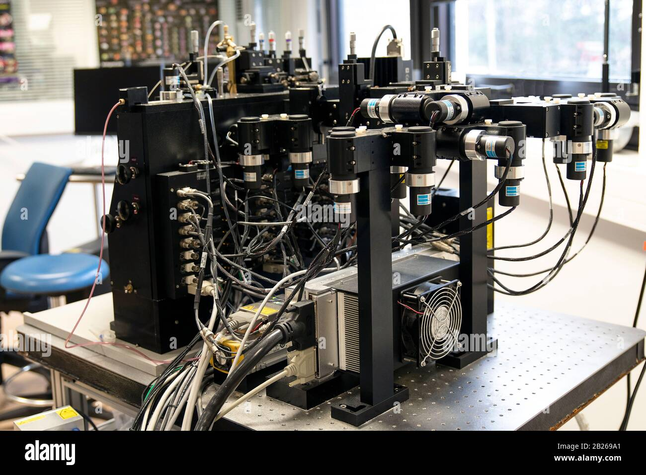 Electronic apparatus in a physics laboratory Stock Photo