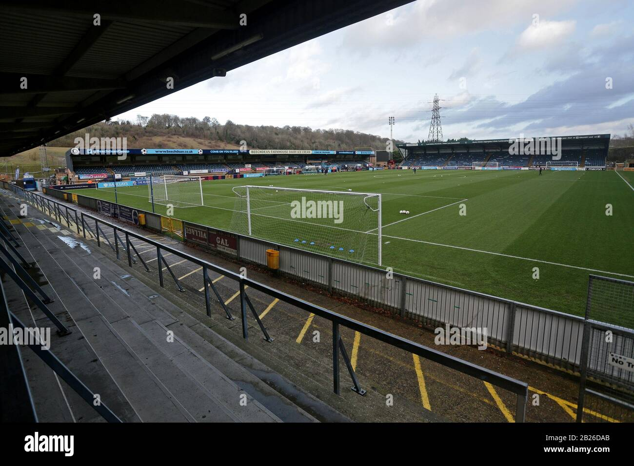 General view of the ground ahead of Reading FC Women vs Arsenal Women, Barclays FA Women's Super League Football at Adams Park on 8th December 2019 Stock Photo