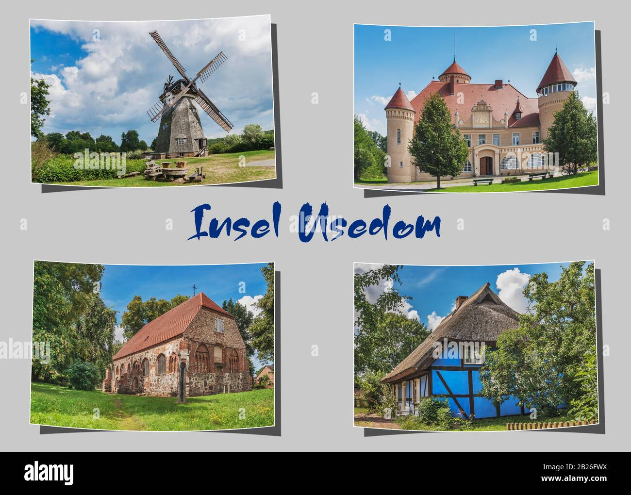 Four different curved photographs on grey background with the inscription Insel Usedom (island Usedom), Mecklenburg-Vorpommern, Germany, Europe Stock Photo