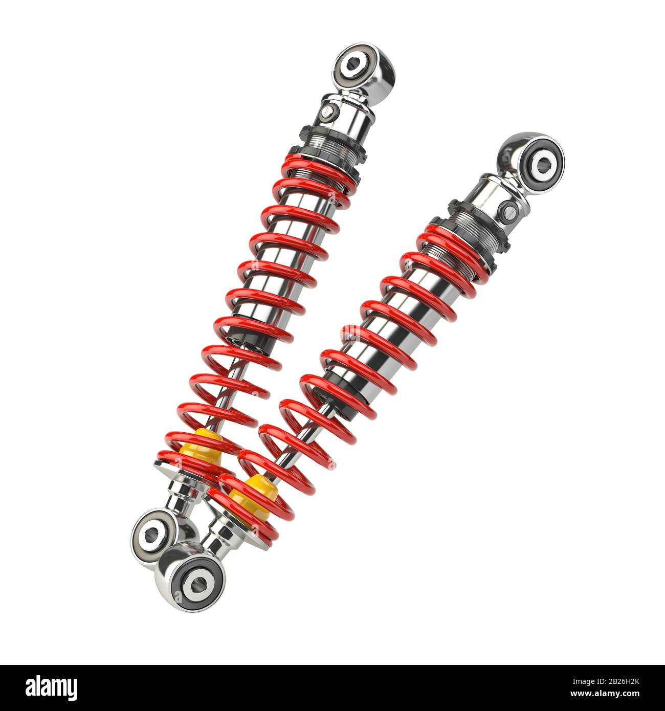 Shock absorber car isolated on white background. Auto parts and spare. 3d illustration Stock Photo
