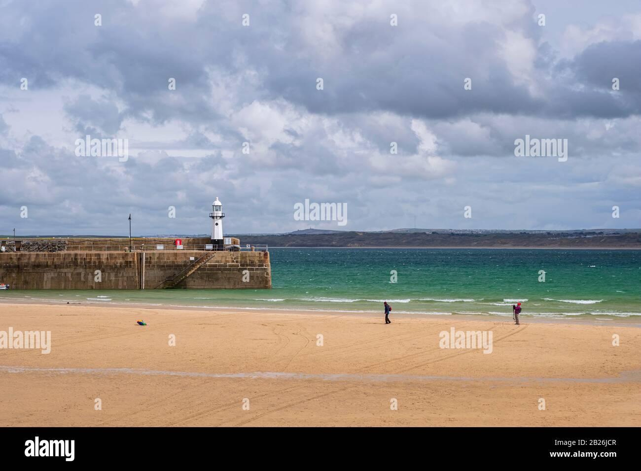 St Ives Cornwall, South West, UK, Artistic Cornwall, Cornish Colours, White Sand, Blue seas, St Ives Light house and harbour Stock Photo