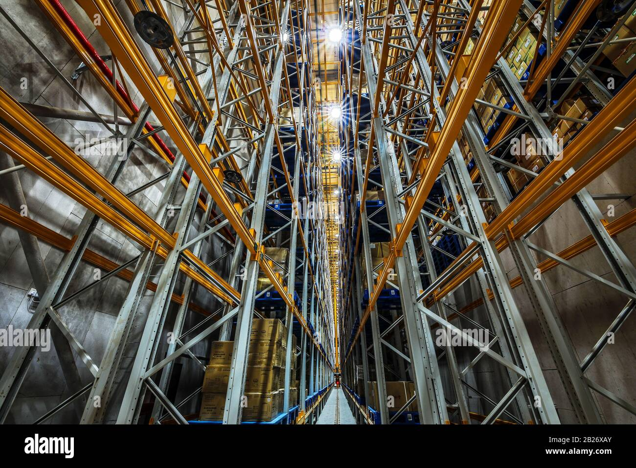 BEIJING, CHINA - JUNE 03, 2019: Modern automation of warehouse production in China. Stock Photo