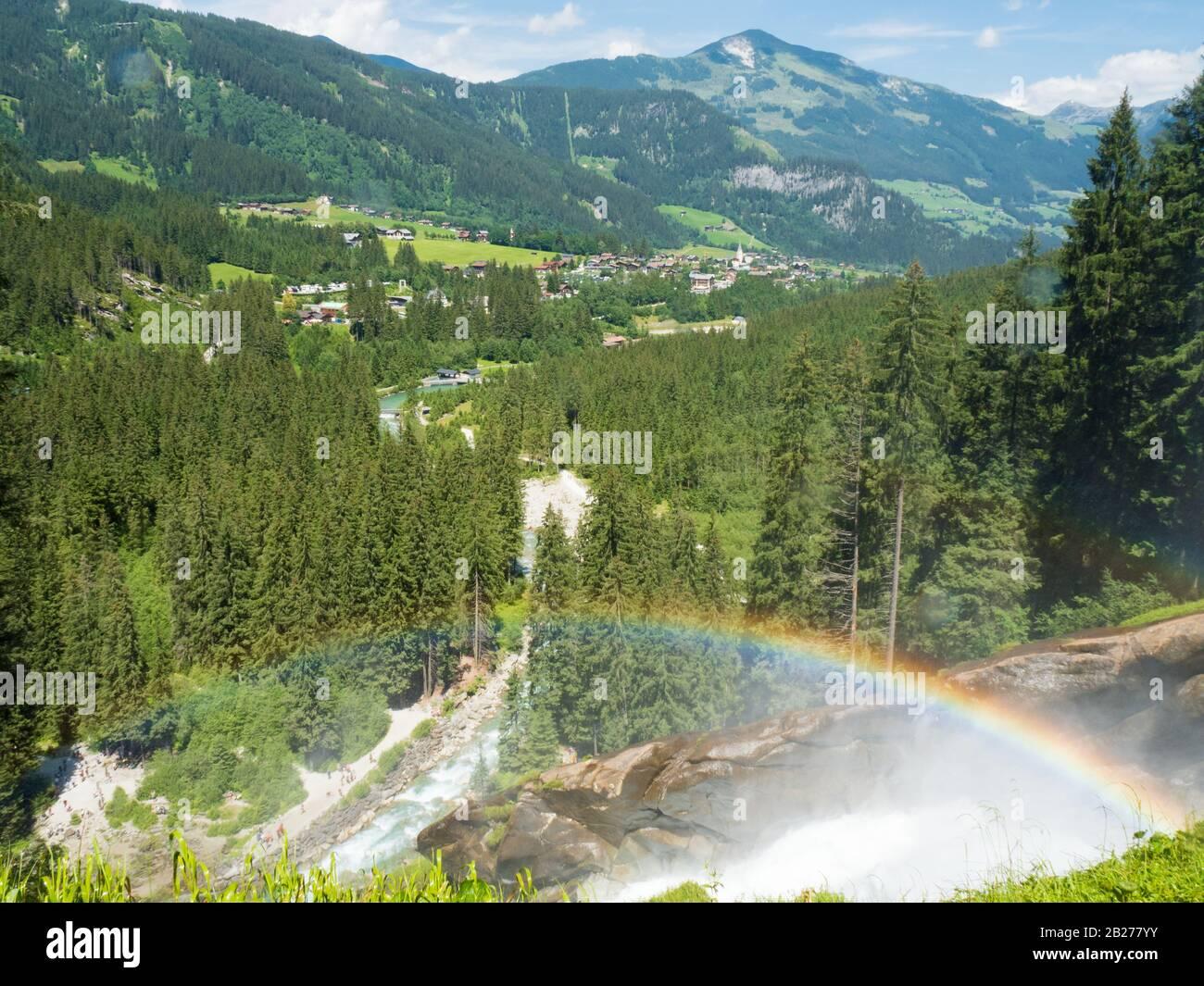 Rainbow over the Krimml Waterfalls (Krimmler Wasserfälle) in the High Tauern National Park, Austria Stock Photo