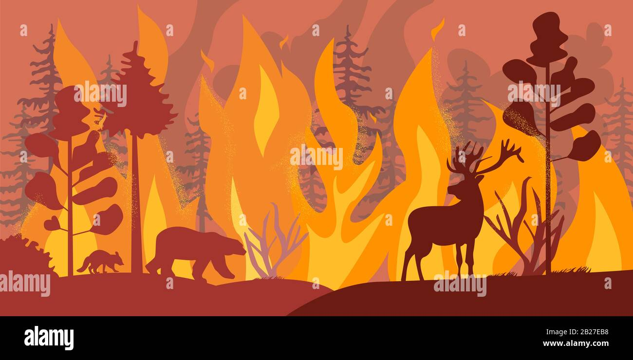 Silhouettes of wild animals at fire forest vector flat illustration Stock Vector