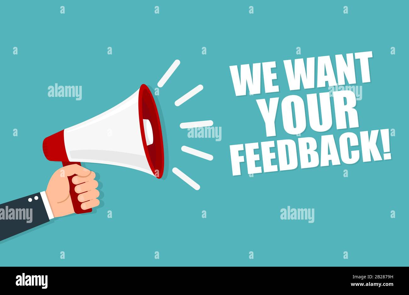 we want your feedback loudspeaker vector illustration stock vector image art alamy alamy