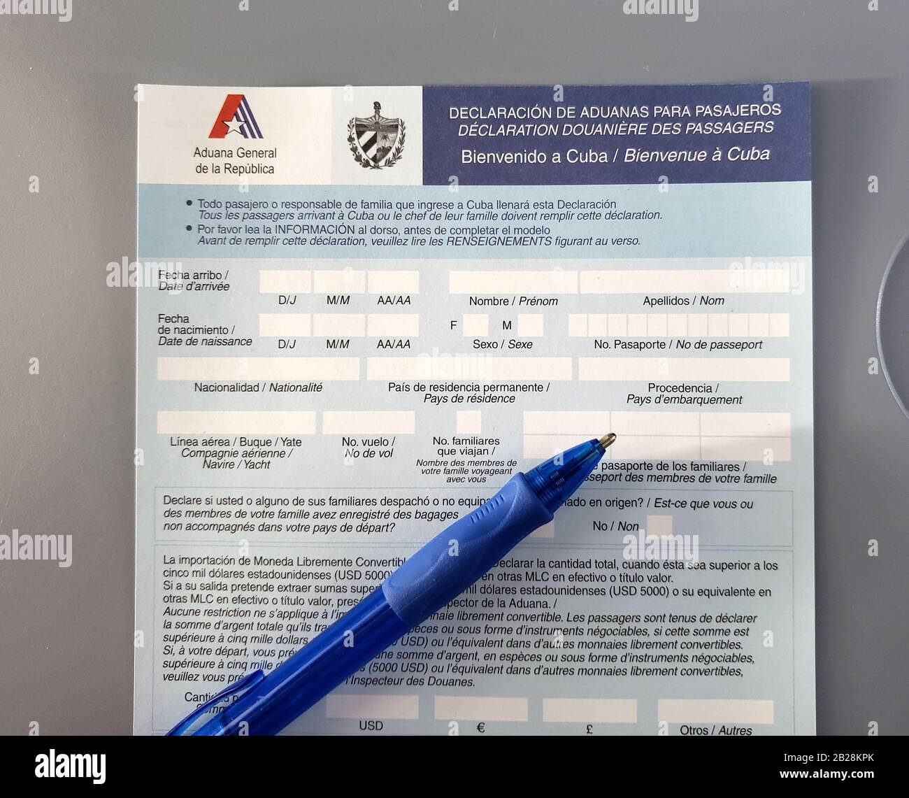 Cuba Visa Declaration Form This Form Should Be Completed By Any Visitor Or Tourist Entering Cuba Stock Photo Alamy