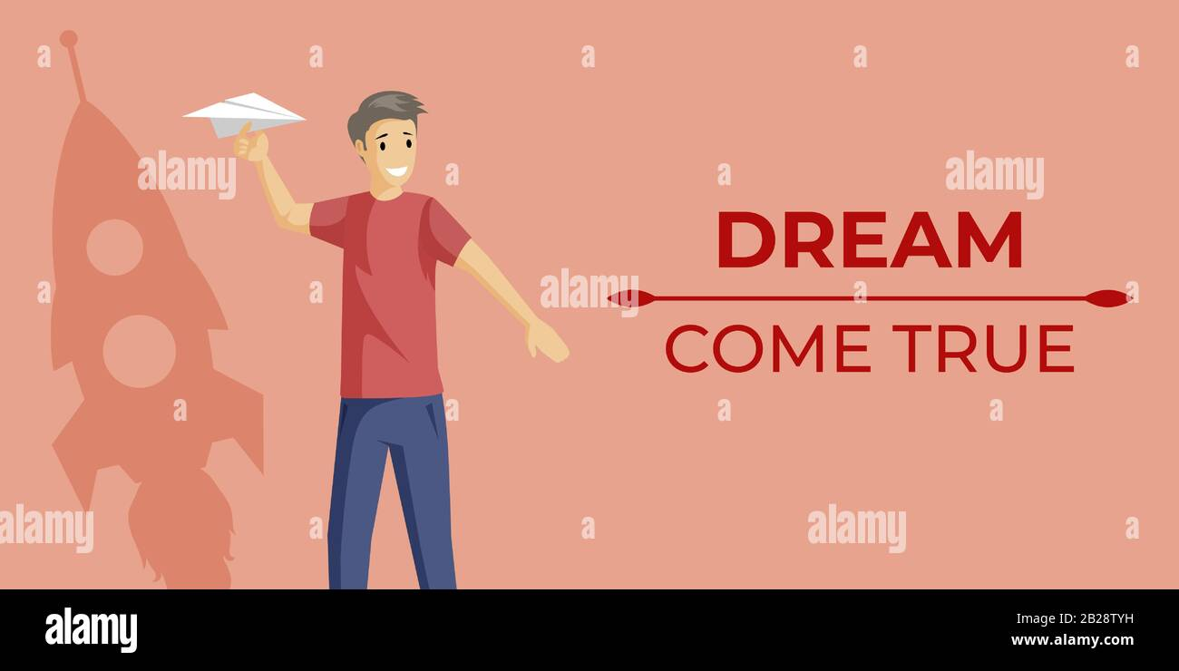 Dreams Come True Banner Vector Flat Concept With Text Space Happy Boy With Paper Plane And Rocket Shadow In Flat Style Self Improvement Personal Growth And Personal Coach Webpage Design Stock Vector Image