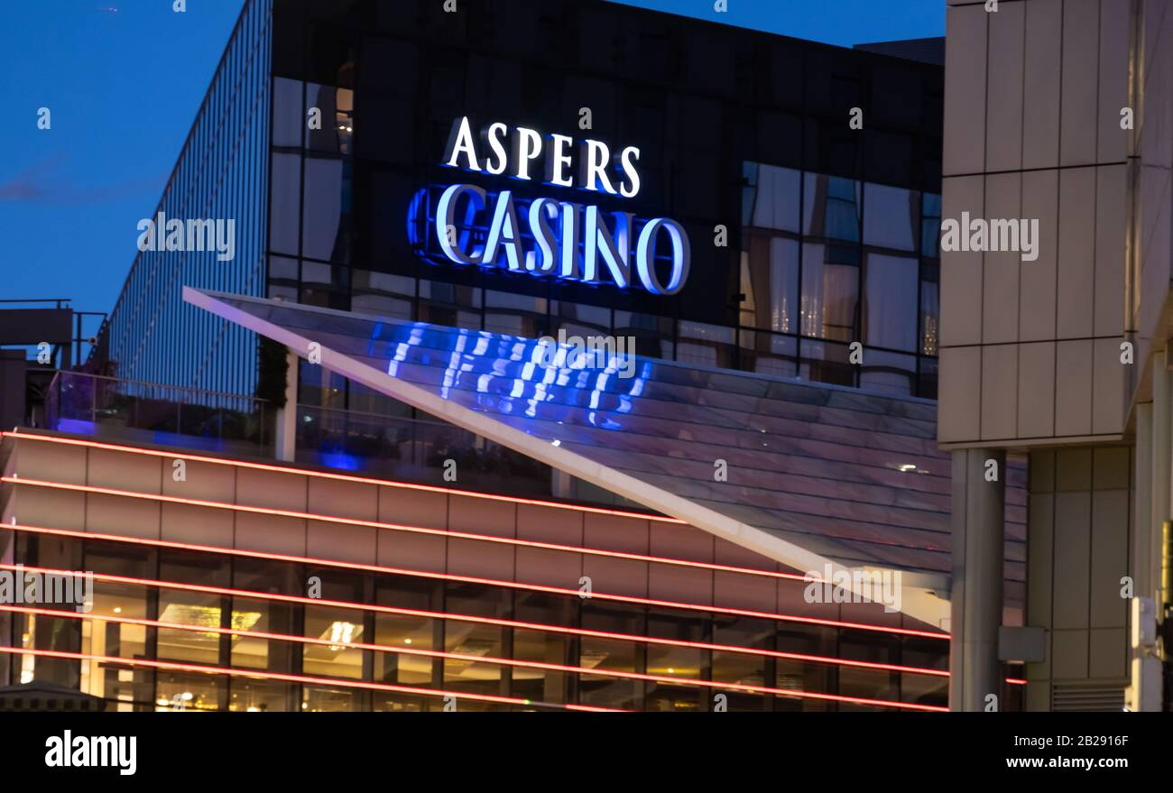 Sign and frontage for Aspers Casino at Westfield Stratford, Newham, East london Stock Photo