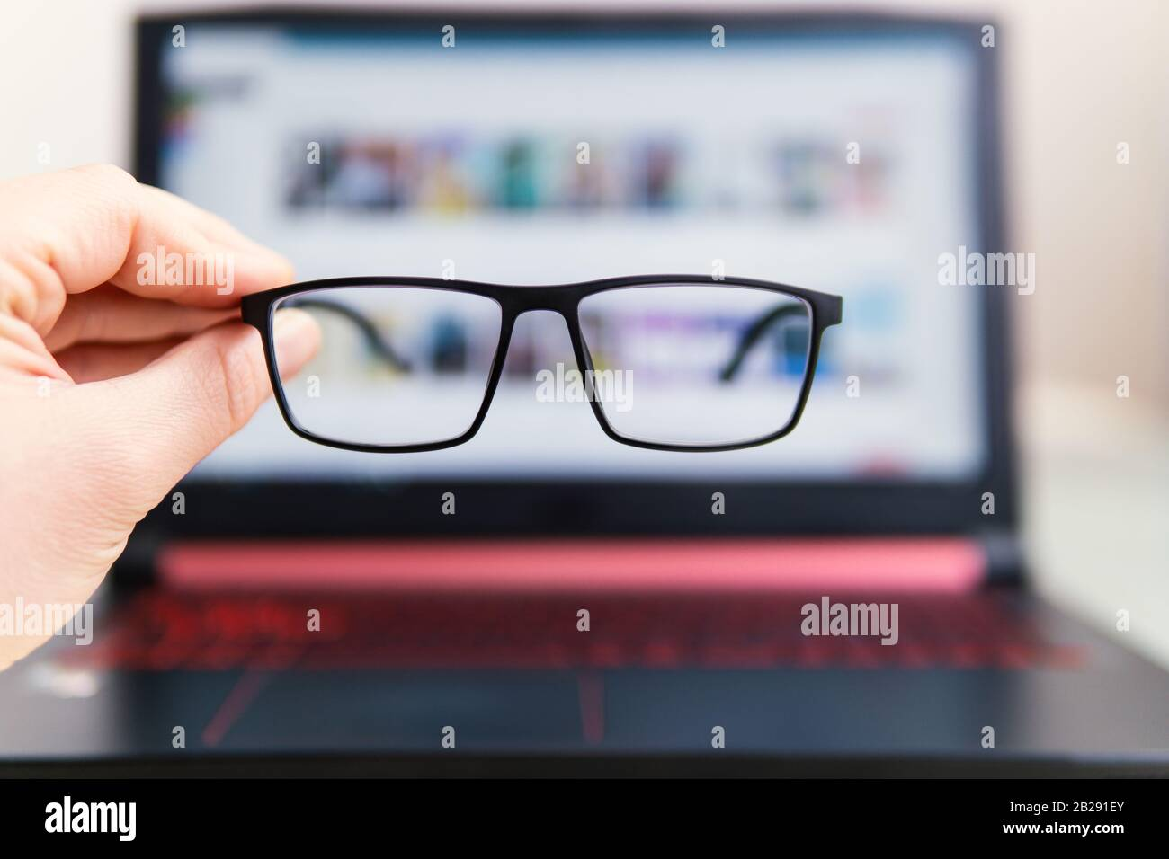 Computer Use With Glasses For Eye Health Concept Image Stock Photo Alamy