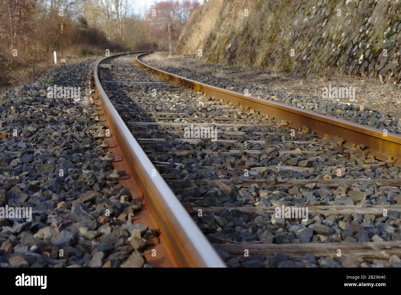 railway tracks abandoned in perspective Stock Photo