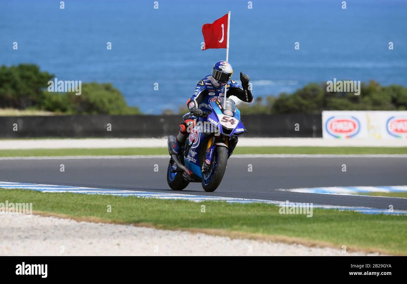 Toprak Razgatlioglu (TUR), Yamaha YZF R1, WorldSBK 2020. Tissot Superpole. Phillip Island Circuit, Victoria, Australia. 29th February 2020 Stock Photo
