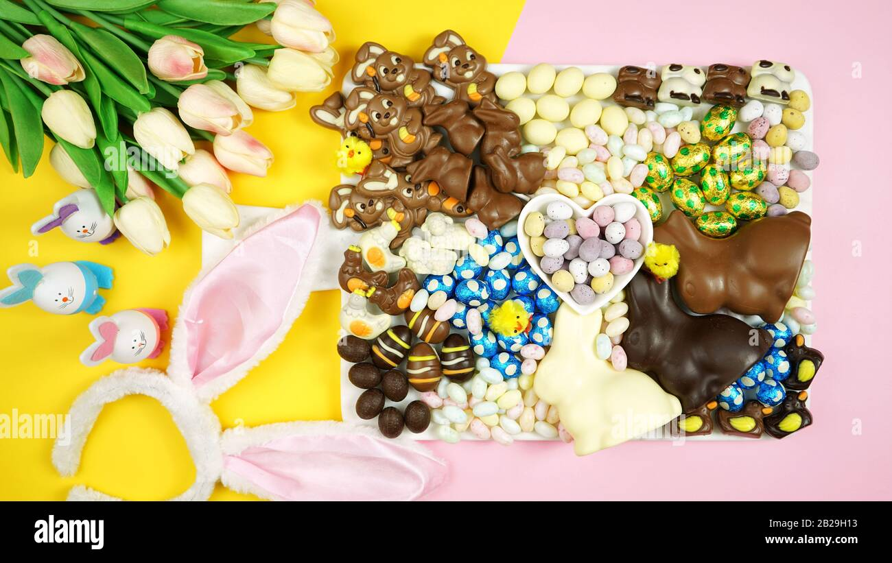 Colorful Happy Easter Chocolate And Candy Eggs And Bunnies Dessert Grazing Platter Charcuterie Board Stock Photo Alamy