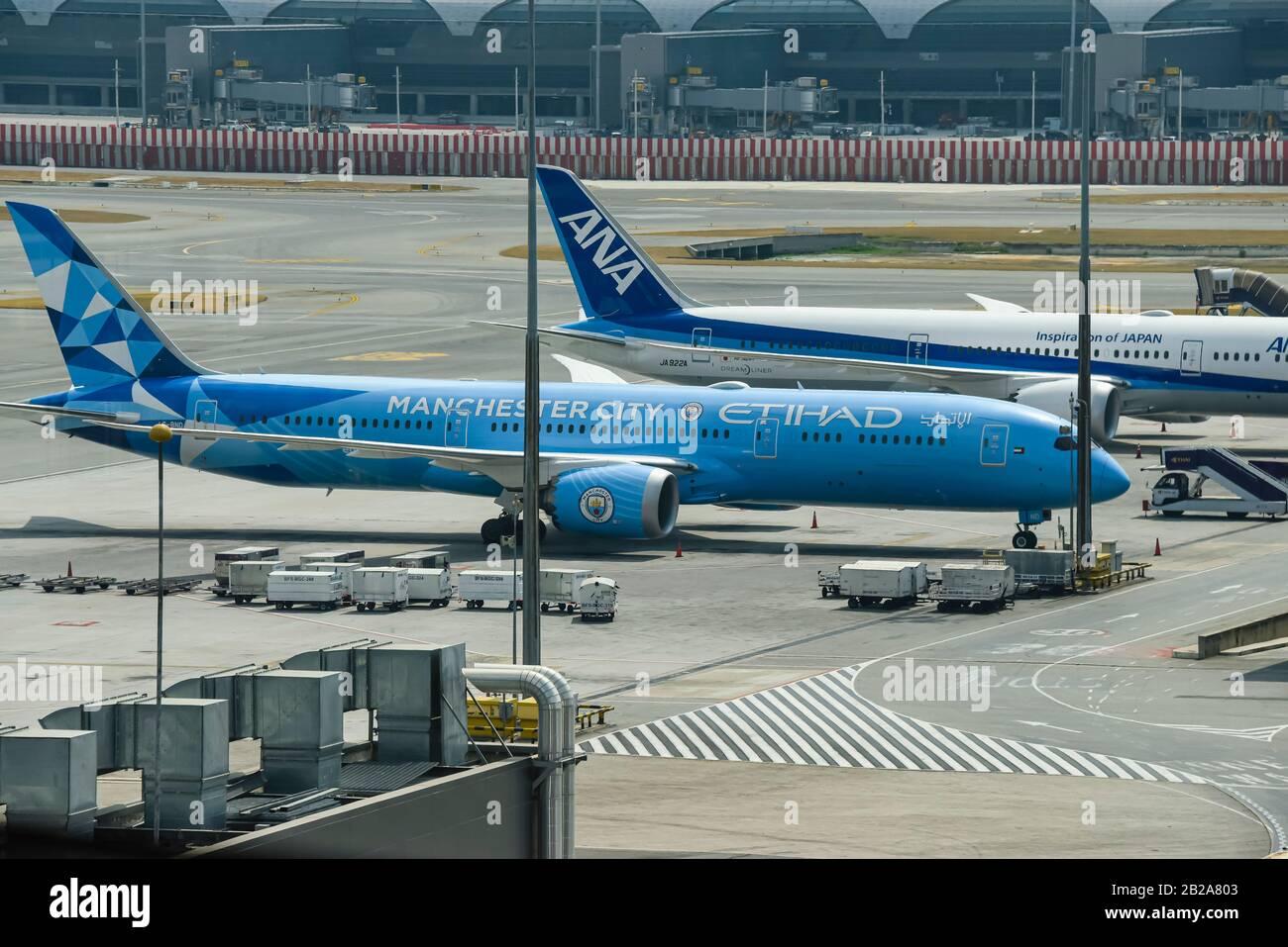 Manchester City themed Etihad Boeing 787-9 Dreamliner A6-BND at Bangkok Airport, Thailand. Stock Photo