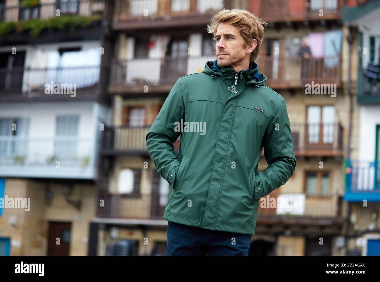 Mid-adult man, Pasai Donibane, Pasaia, Gipuzkoa, Basque Country, Spain, Europe Stock Photo