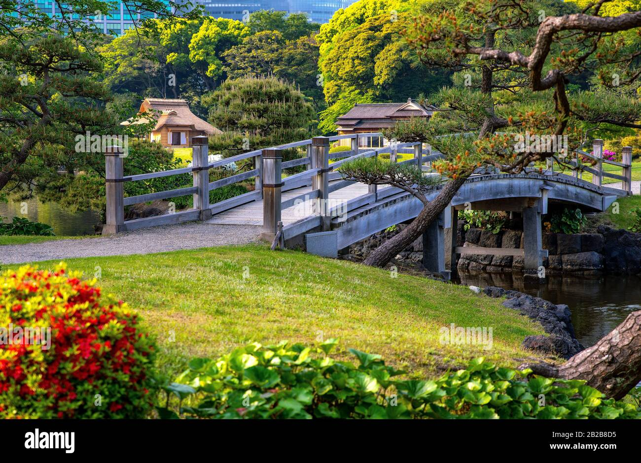 Japan Tokyo A Bridge Of The Hama Rikyu Ancient City Garden With The Rest Houses In The Background Stock Photo Alamy
