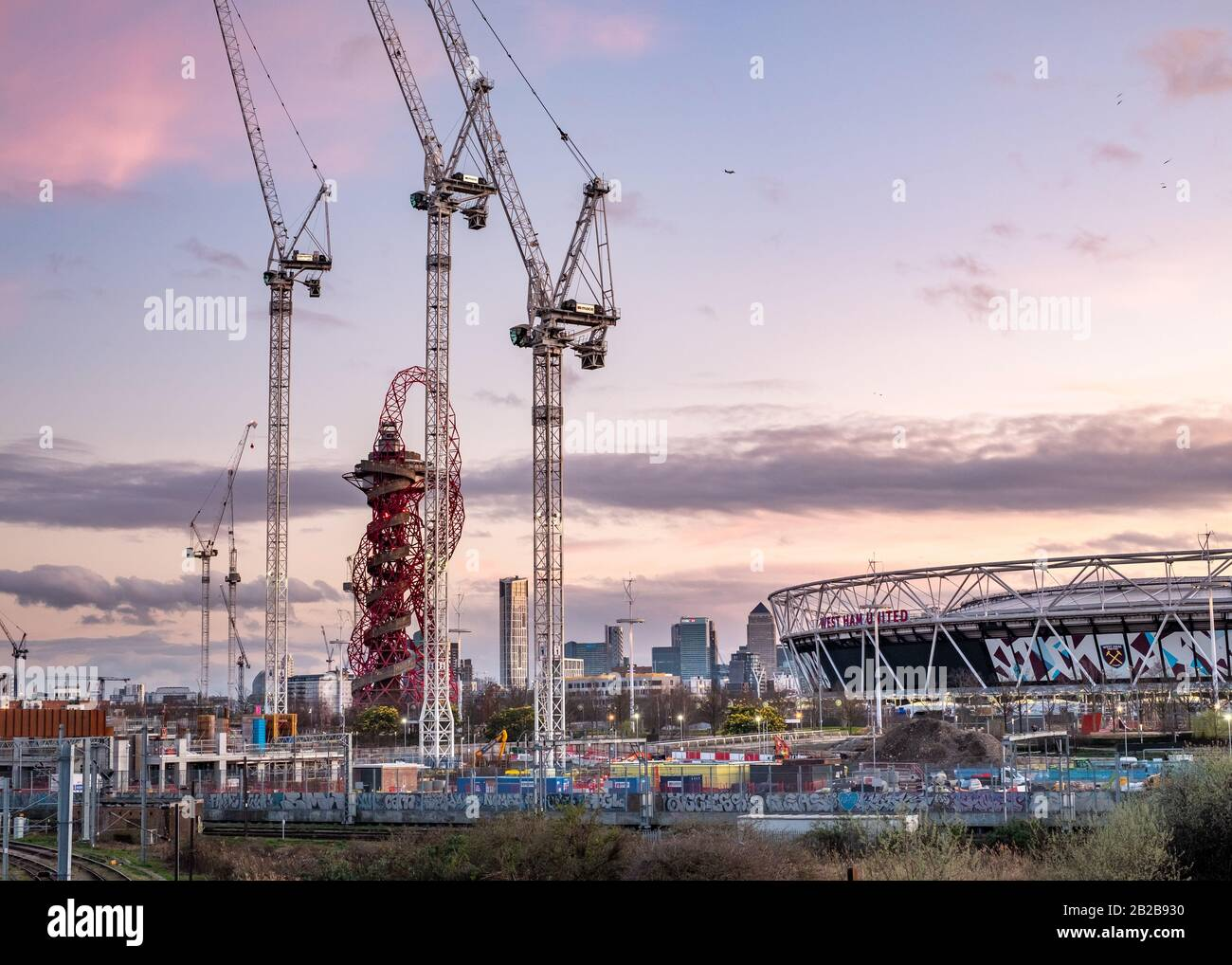 Construction site for East Bank / Stratford Waterside in London Olympic Park, stratford, looking towards the stadium and orbit Stock Photo