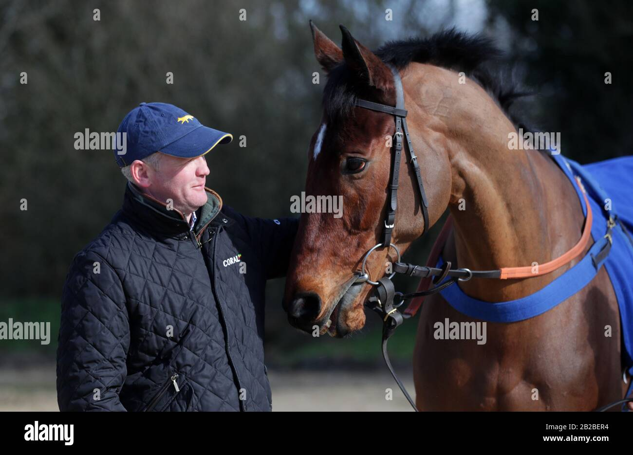 Joe Tizzard with Lostintranslation during the visit to Colin Tizzard's stable at Spurles Farm, Milborne Port. Stock Photo