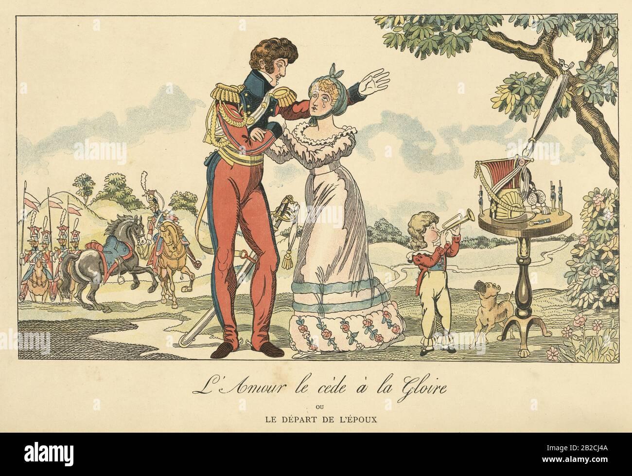 Napoleonic Wars, Husband leaving his family to go off the war. l'amour le cède à la gloire où le départ de l'epoux (love yields to glory where the departure of the husband) Stock Photo