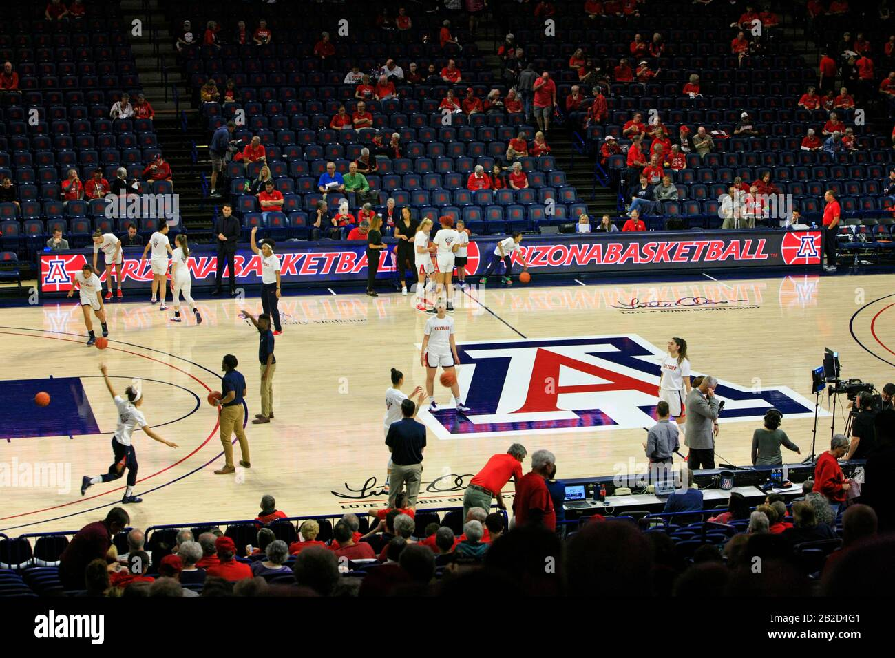 Arizona Vs Stanford Girls University Basketball game at the UofA McKale Memorial center basketball arena in Tucson AZ Stock Photo
