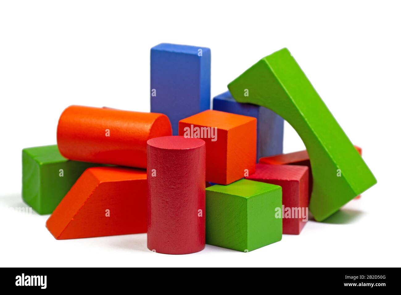 Colorful wooden toy blocks against white background Stock Photo