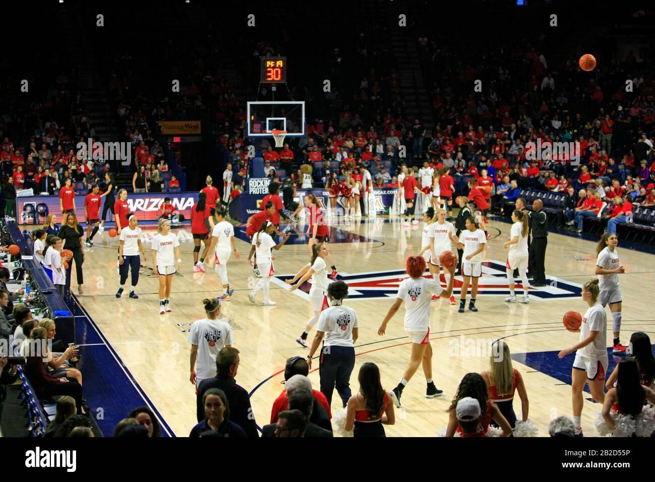 Arizona Vs Stanford Girls University Basketball game at the UofA McKale Memorial center basketball arena in Tucson AZ Stock Photo