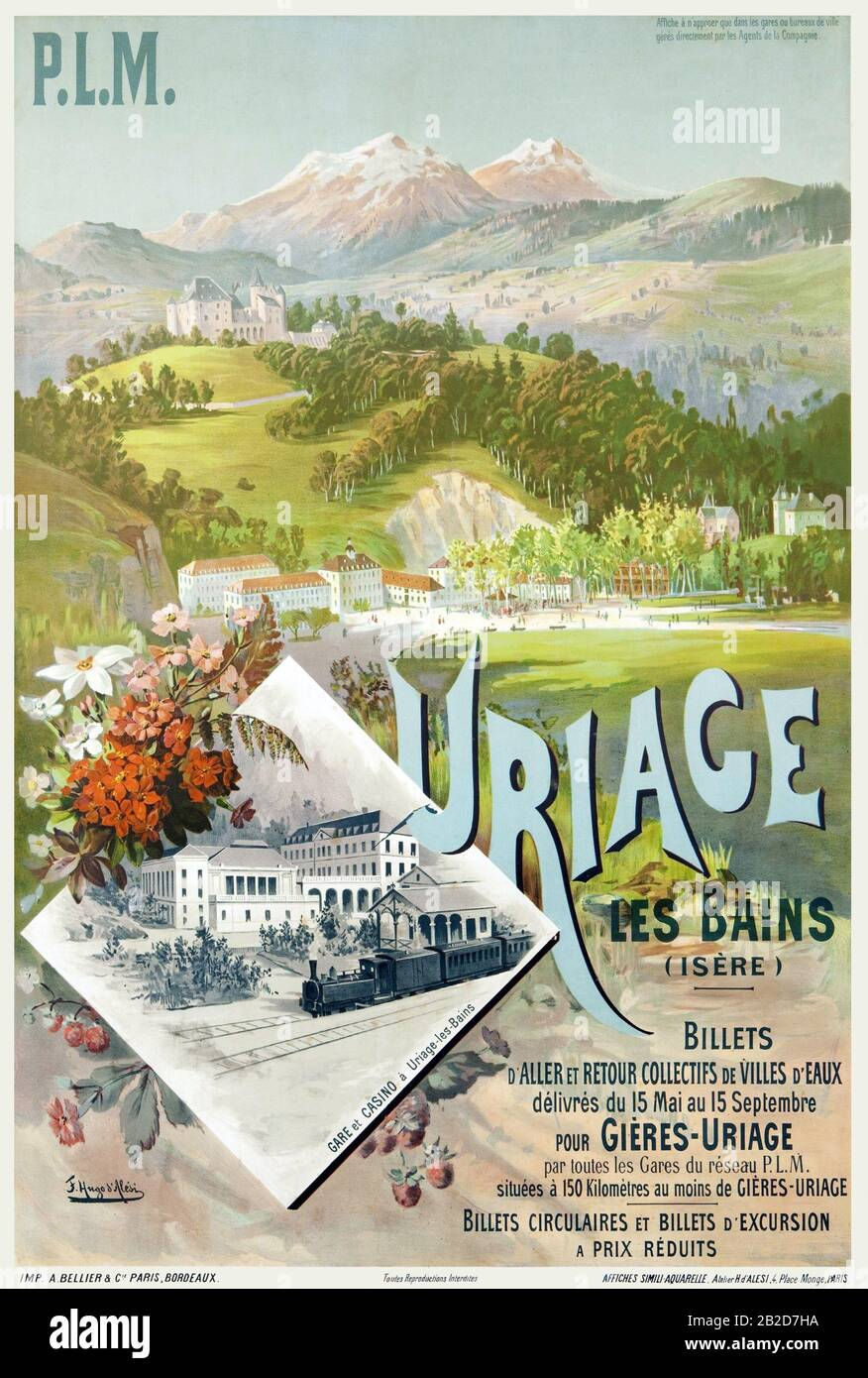 Uriage-les-Bains Affiche chemin de fer PLM