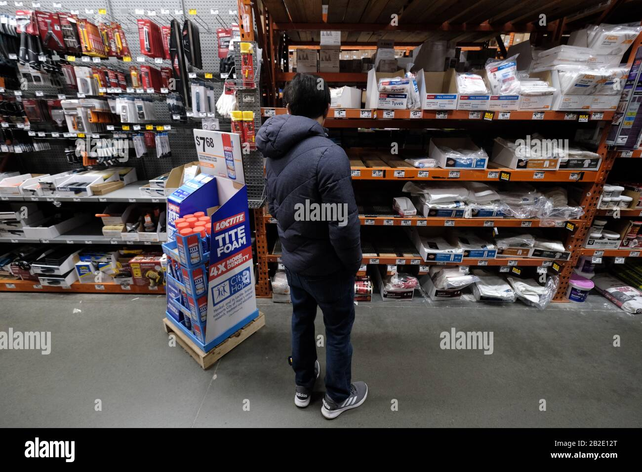 Portland Usa 02nd Mar 2020 A Man Looks At Empty Shelves In Home Depot That Are