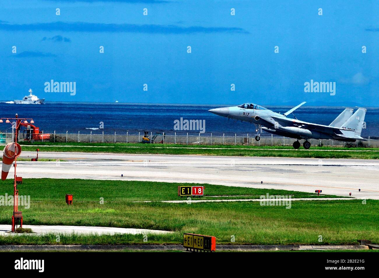 JSDF , Mitsubishi F-15J, 22-8935, Landing , After Patrol, Naha Airport, Okinawa, Japan Stock Photo