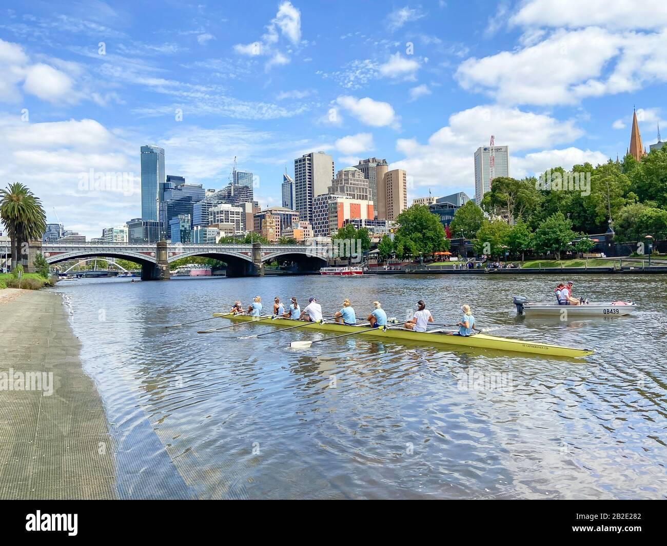 City view across Yarra River from Alexandra Gardens, Melbourne, Victoria, Australia Stock Photo