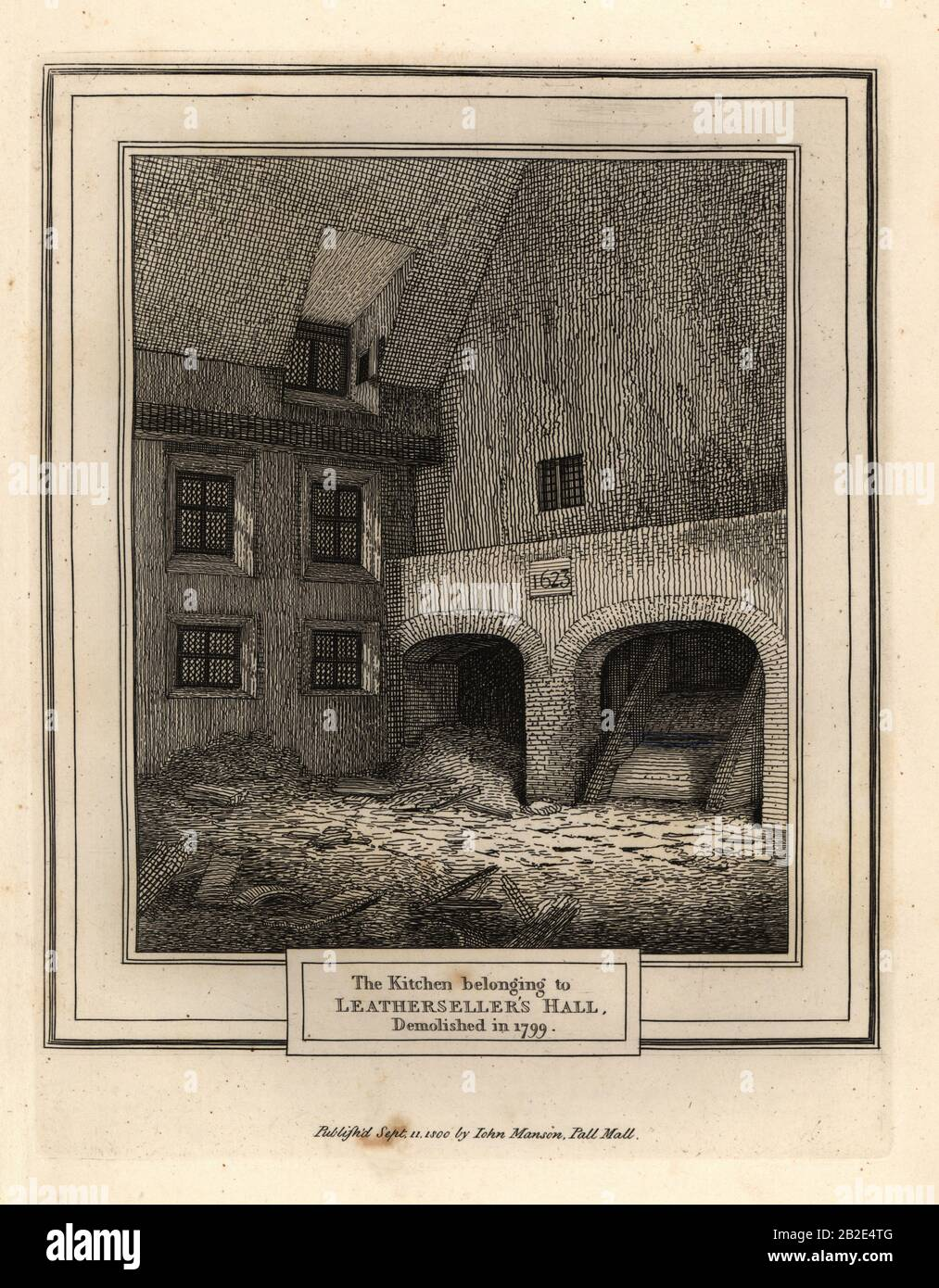 Kitchen Of Leathersellers Hall London Demolished In 1799 Copperplate Engraving By John Thomas Smith After Original Drawings By Members Of The Society Of Antiquaries From His J T Smith S Antiquities Of London And