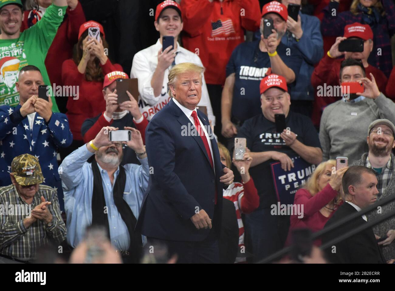 President Donald Trump appears during a rally Dec. 10, 2019, at Giant Center in Hershey, PA. Stock Photo